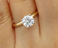 1.00 Ct 14K Yellow Gold Round Solitaire Engagement Wedding Propose Promise Ring