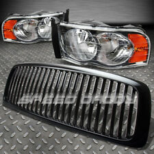FOR 02-05 DODGE RAM BLACK FRONT GRILL+CHROME HEAD LAMPS LIGHTS AMBER REFLECTOR