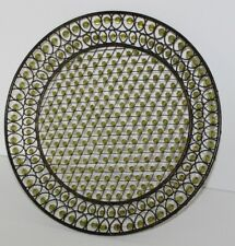 """VTG MCM 1950's 1960's Decorative Serving Tray Woven Metal With Green Beads 12"""""""