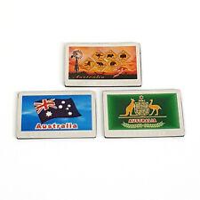 3 Australia Souvenir Native Animals Fridge Magnets Flag Kangaroo Koala Wombat