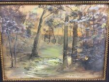 Great c1900 orig. signed Harlan Paige Buckland Landscape Ink Gouache Painting