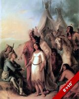 THE TRAPPER & INDIAN BRIDE US HISTORY OIL PAINTING ART REAL CANVAS GICLEE PRINT