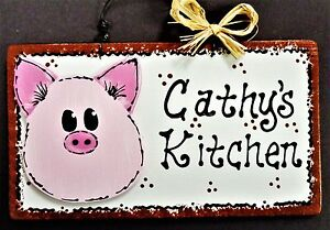 PIG OVERLAY Personalized KITCHEN SIGN Decor Country Wood Wall Art Hanger Plaque