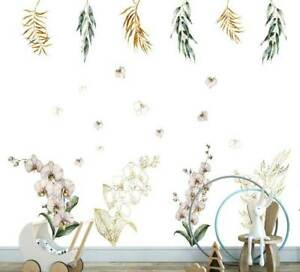 White Gold Orchid Branch Flower Wall Decal Kids Nursery Stickers Baby Cot Decor