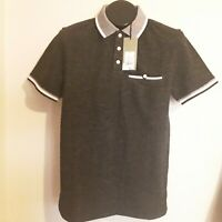 Mens short sleeve collared 3 button shirt brand Goodfellow NWT color black