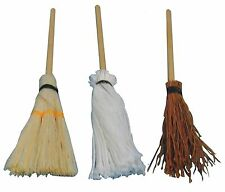 Dolls House Miniature 1/12th Scale Pack of 3 Assorted Broomsticks
