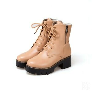 Women Chunky Heel Round Toe Lace Ups Zipper Combat Motor Ankle Boots Size 34-43