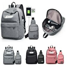 USB Port Zaino Canvas Borsa Petto Uomo Donna Laptop Viaggio Backpack Unisex New