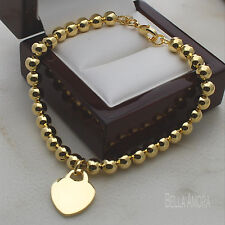 """Yellow Gold Plated Polished 6mm Bead Ball Bracelet with Heart Charm 8"""" New -164"""