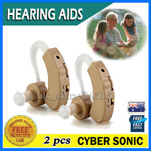 2x Hearing Aids Aid Behind Ear Adjustable Tone Voice Sound Digital Amplifier Kit