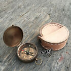 Vintage Mini Pocket Compass w/ Case handmade Working Compass with Quote.