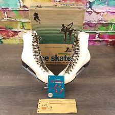 Brookfield Womens/Ladies White Figure Ice Skates Imported Steel Blades Size 9