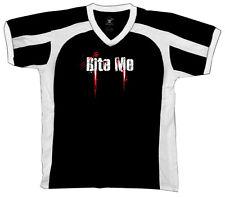 Bite Me Zombie Scary Horror Movie Vampire Blood Retro Sport T-shirt