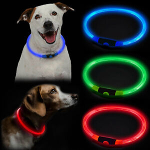 USB Rechargeable LED Dog Pet Collar Flashing Size Adjustable Safety Light Up