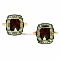 Natural Garnet & Topaz Gemstones 925 Sterling Silver Gold Plated Men's Cufflinks