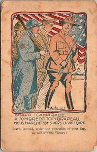 Vintage 1918 WWI Soldiers in France Censor Stamp Postcard