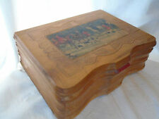 Antique Wooden Jewelry Box~Equestrian Fox Hunt Scene~Pressed Design~FRONT Shaped