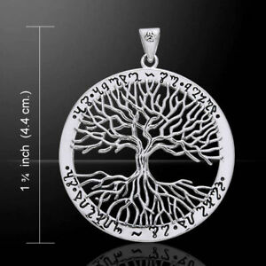 TREE of LIFE pendant 925 STERLING SILVER 3.7cm *THEBAN SCRIPT*  PAGAN WICCA