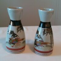 Japan Vases Set Of Two Gold Rim Oriental Home Decor