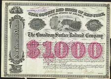 USA BROADWAY CITY SURFACE RAILROAD 1884  bond/stock certificate