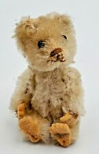 """Schuco Picculo Miniature Jointed White Mohair Teddy Bear w/ Felt Pads 2-1/2"""""""