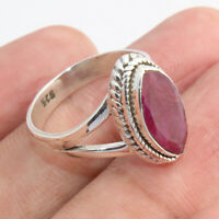 Natural Ruby Gemstone Sterling Solid Silver Ring Designer Jewelry - Size 5
