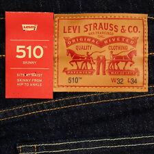 Levis 510 Jeans Skinny Fit Mens New DARK BLUE RINSE Size 32 x 34 Levi's NWT