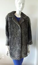 Grey Marble Karakul Lamb Real Fur Coat Sz S-M