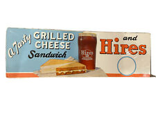 VINTAGE HIRES ROOT BEER DIECUT CARDBOARD SIGN WITH GRILLED CHEESE And Glass.
