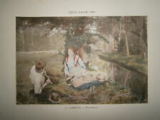Gravure 19° 1899 couleur Peinture L. Jimenez Pastoral bord de canal