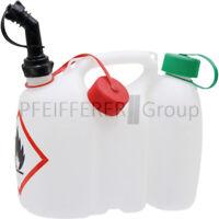 Doppelkanister 3 Liter / 1 Liter mit Stutzen weiß Benzinkanister transparent