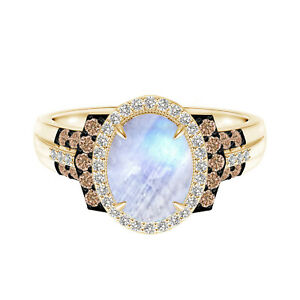 Side Coffee Accents 9K Yellow Gold 1.5 CTW Oval Moonstone Engagement Ring