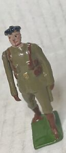 Antique Britains Toy Soldier Pre WW2 Royal Tank Corps Officer Brown Belt
