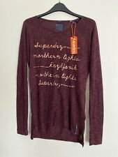 superdry burgundy Ladies Thin Jumper Size 8 Gold Writing - Northern Lights
