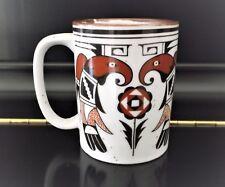 HTF Aztec Abstract Falcon Eagle Bird Flower Drip Glaze Stoneware Mug Cup Speckle