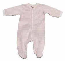NWT Coccoli Baby Girl Infant Terry Cloth Trim Pink & White Footie ~Size 9 Months