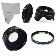 Wide Angle Macro Lens UV FILTER +HOOD+CAP FOR SONY ALPHA  NEX-5N ALPHA A600