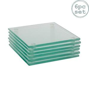 Square Glass Coasters Non-Slip Coffee Table Drinks Mat - Clear - Set of 6