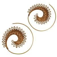 Messing Ohrringe golden Spiralen Blätter Muster geschwungene Linien antik