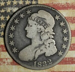 1832 CAPPED BUST SILVER HALF DOLLAR  COLLECTOR COIN, FREE SHIPPING