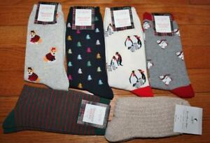 6x NWT J Crew & The Loft Womens Crew Length Trouser Socks Dogs Bears Striped *C7