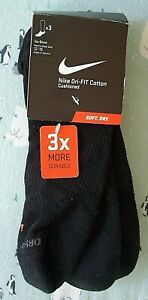 """3 Pairs Nike """"DRI-FIT COTTON CUSHIONED"""" NO-SHOW SOCKS  MEN'S -Extra Large 12-15"""