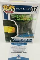 STEVE DOWNES JEN TAYLOR SIGNED MASTER CHIEF CORTANA FUNKO 07 BAS M62065 HALO