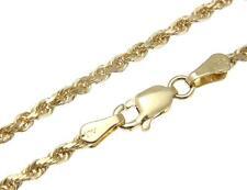 2.5mm solid 14k oro giallo taglio diamante collana cavigliera 22.9cm