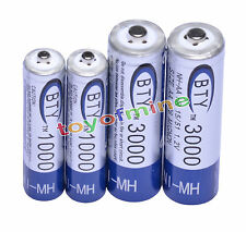 2 + 2x AA AAA 1000mAh 3000mAh 1.2V NI-MH batería recargable RC/MP3 3A 2A BTY
