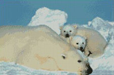 Polar Bear & Cubs Counted Cross Stitch Kit 10x6.5 A2119