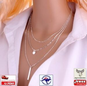 3 Layers Chain Necklace Hollow Triangle Long Pendant Necklace Jewelry [A6V~A1]