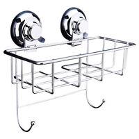 Stainless Steel Suction Shower Bath Storage Basket Shelf Kitchen Bottle Rack SH