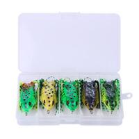 "5 PCS 1/2 oz 2.5"" Large Frog Topwater Soft Fishing Lures Bait Bass Crankbaits"