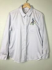 EQUIPMENT FEMME STRIPED LEEMA POCKET CACTUS EMBROIDERY BUTTON SHIRT Size Large